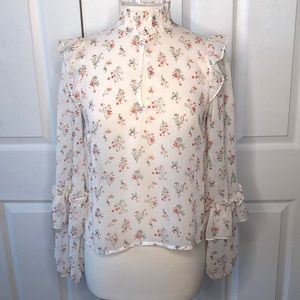 Tops - Keyhole High Neck Floral Top